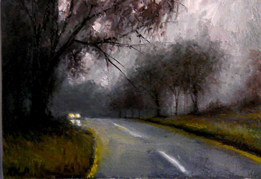 """Approaching Car in the Rain"" original fine art by Bob Kimball"