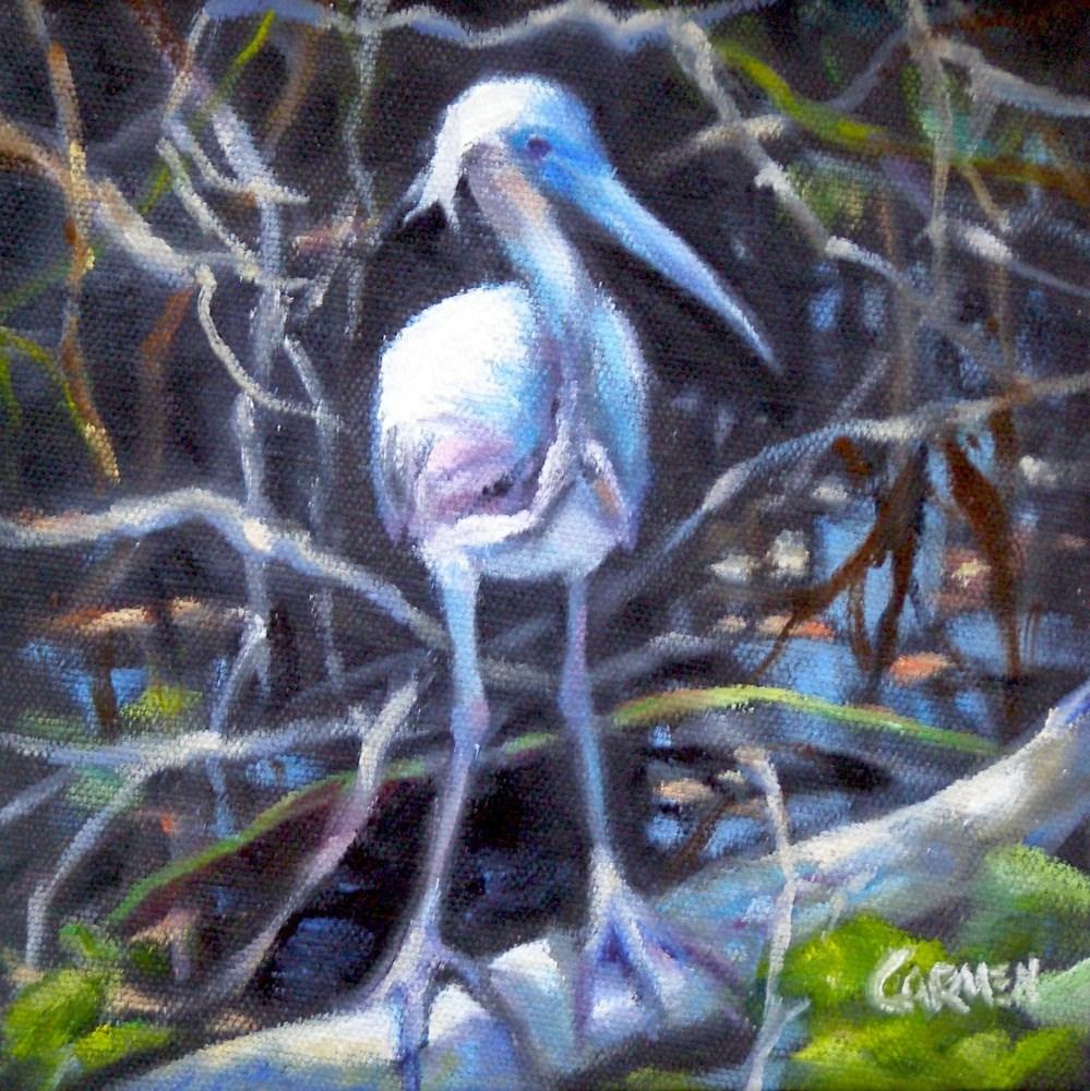 """Mystery Bird, 6x6 Oil on Canvas"" original fine art by Carmen Beecher"