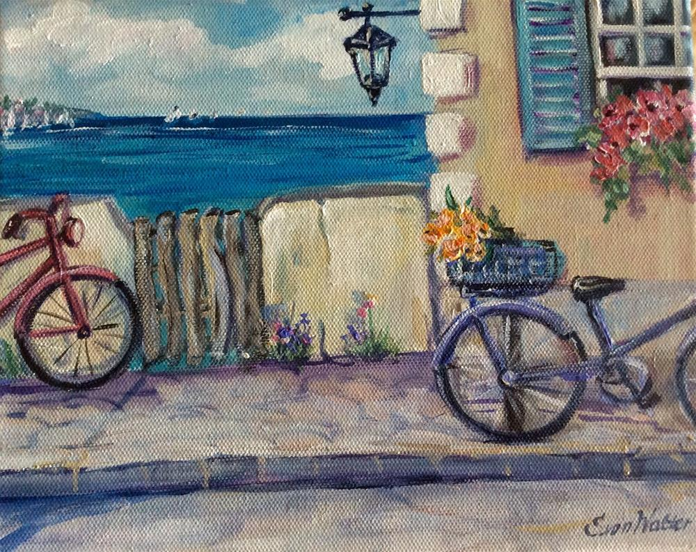 """Two bicycles ,Bermuda"" original fine art by Sonia von Walter"
