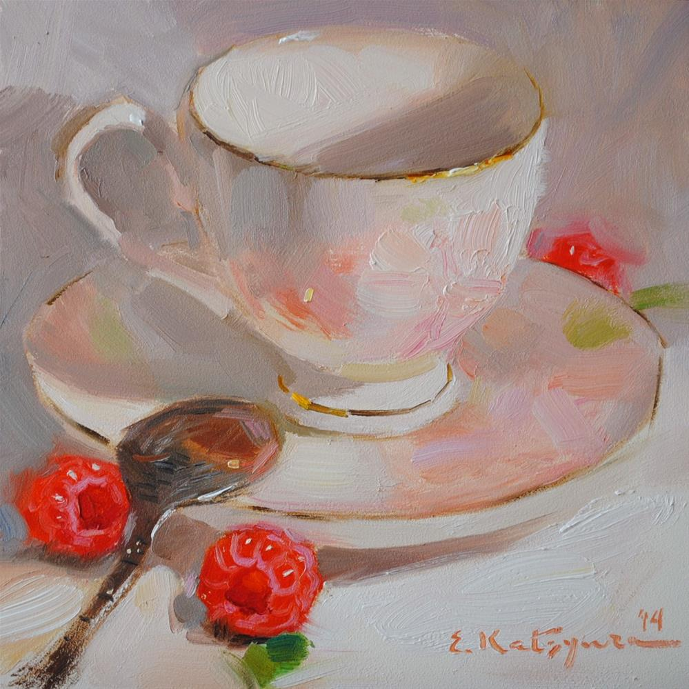 """Cream Raspberries"" original fine art by Elena Katsyura"