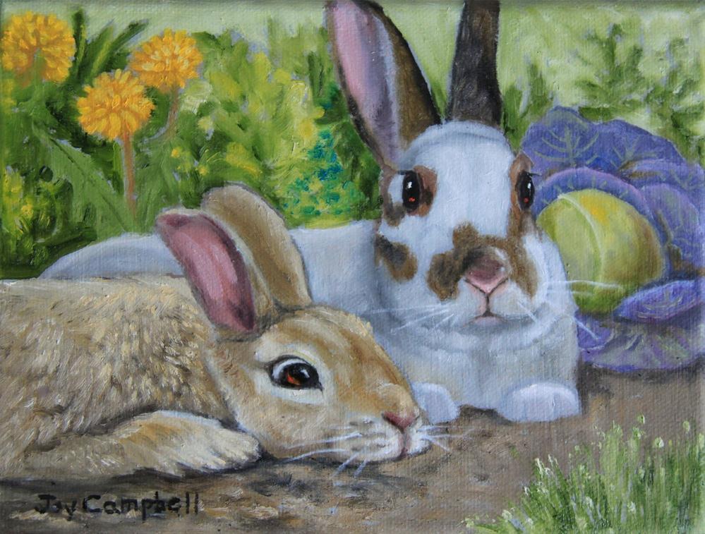 """""""A Garden Visit"""" original fine art by Joy Campbell"""