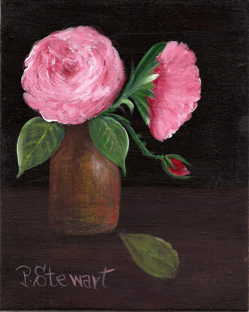 """8x10 Acrylic Roses and a bud in a vase, dark background, Original Art"" original fine art by Penny Lee StewArt"