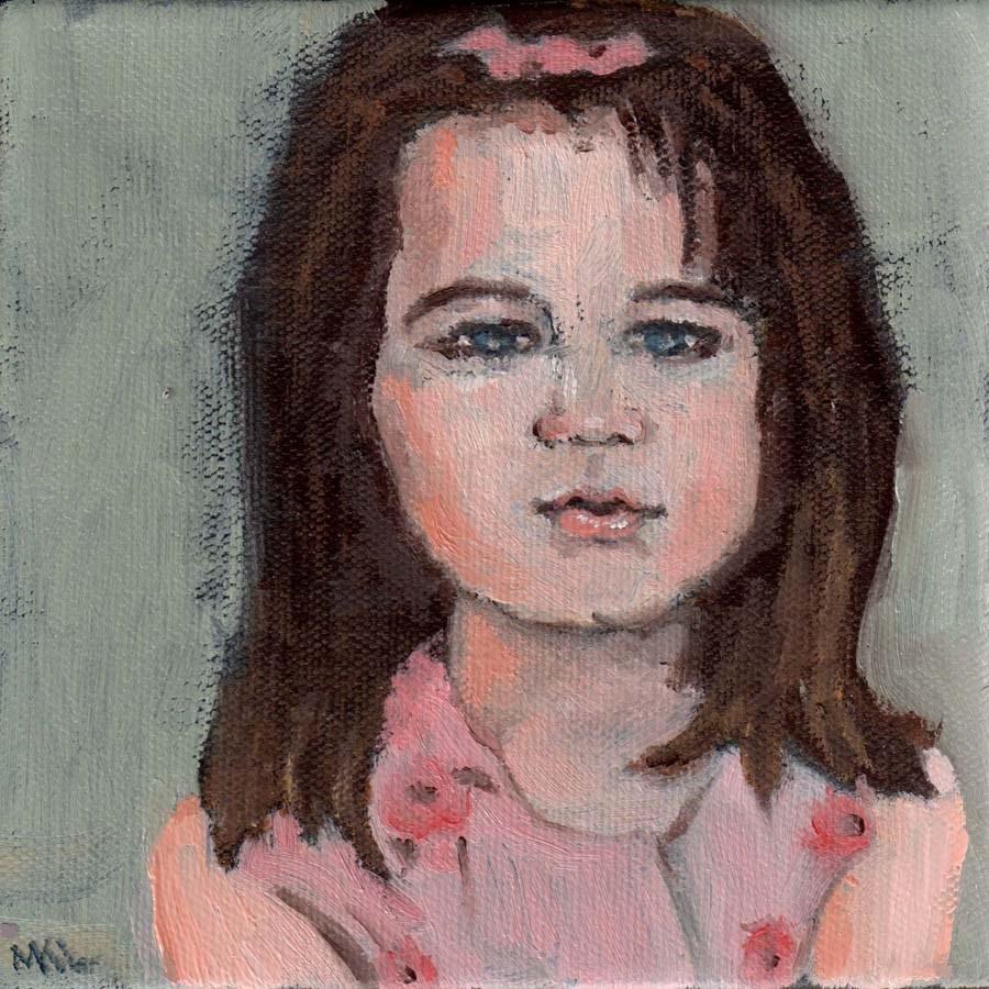 """Pink Bow"" original fine art by Marie Lynch"