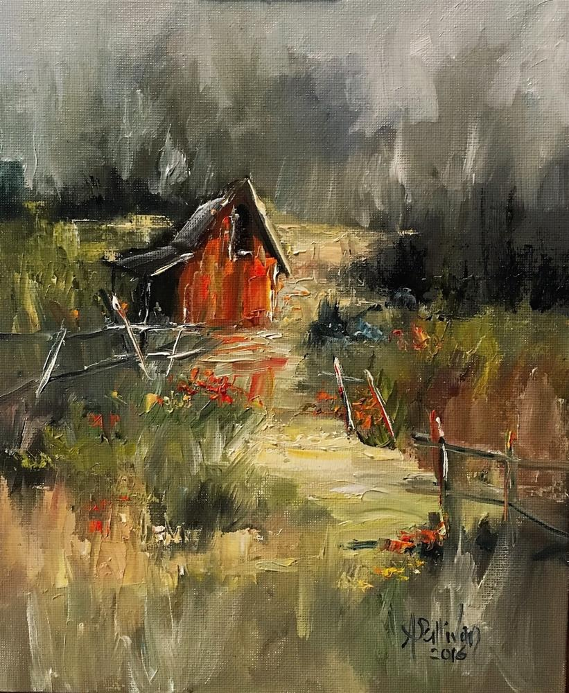"""Fenced In landscape painting by Alabama Artist Angela Sullivan"" original fine art by Angela Sullivan"