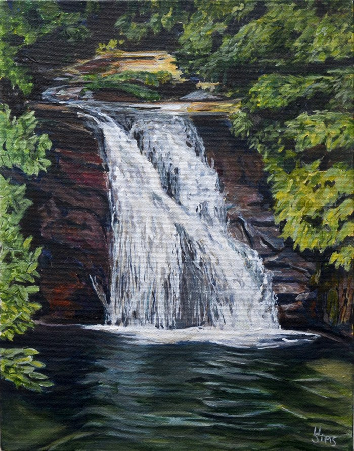 """Blue Hole Waterfall"" original fine art by Heather Sims"