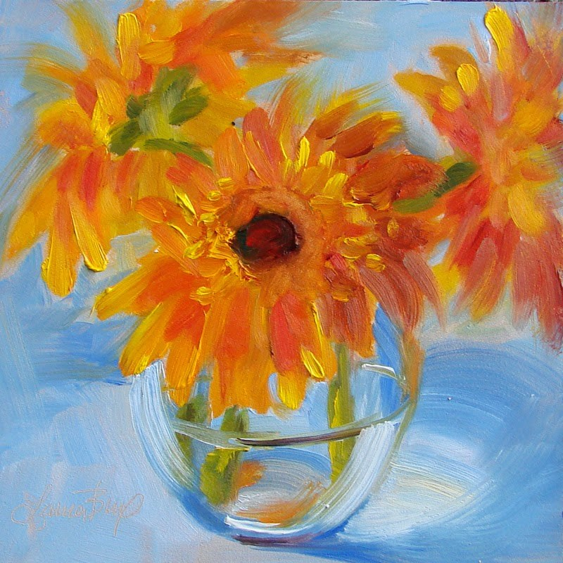 """Orange and Blue 187"" original fine art by Laura  Buxo"