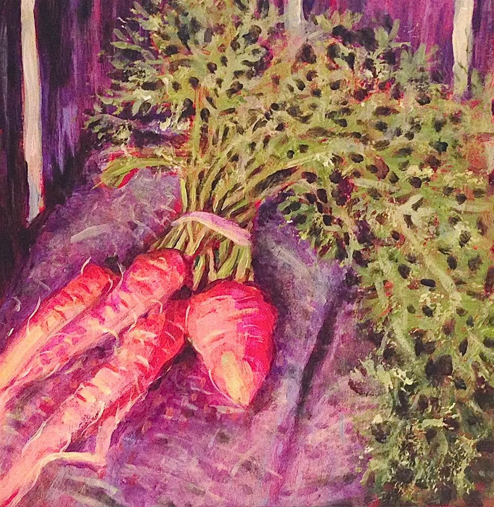 """Carrots For Sale"" original fine art by Debbie Yacenda"