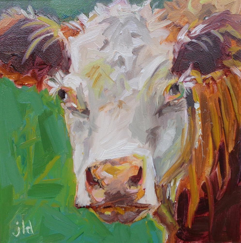 """""""Cow 75 GREEN ACRES"""" original fine art by Jean Delaney"""