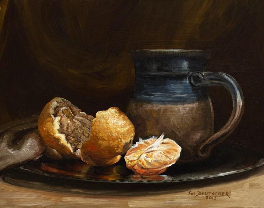 """""""Orange Still Life"""" original fine art by Sue Deutscher"""