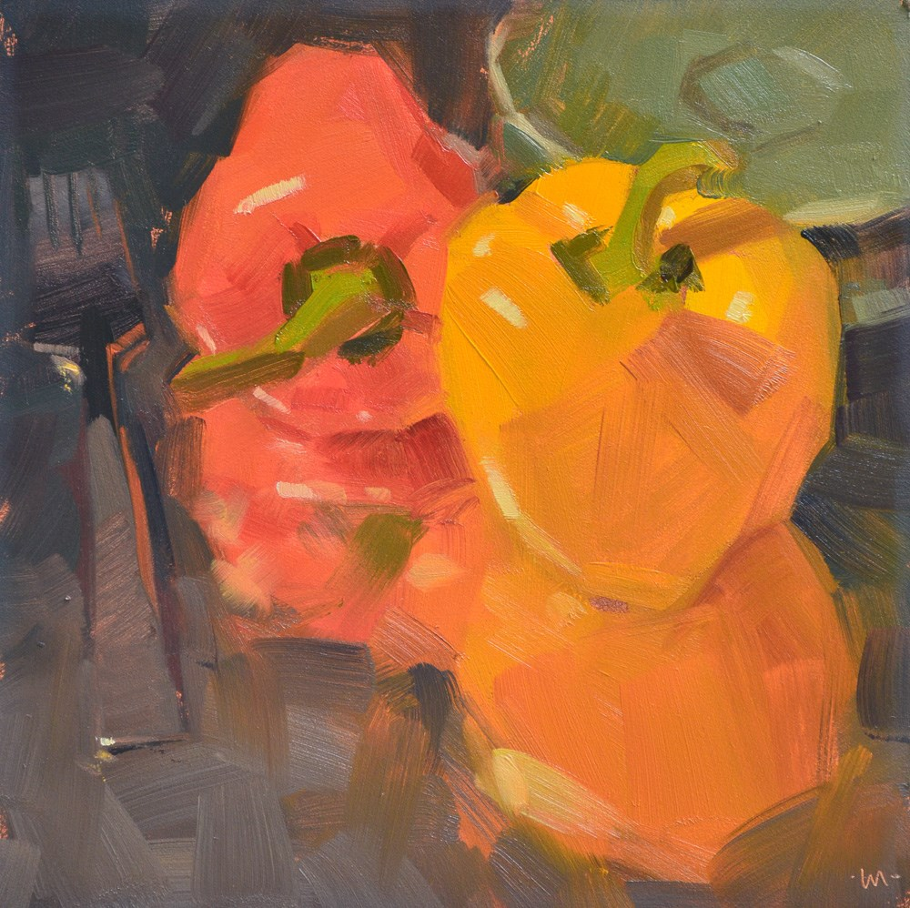 """Reflecting on Peppers"" original fine art by Carol Marine"