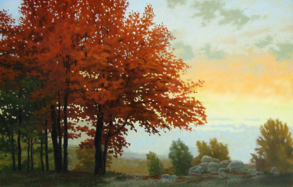 """""""Red Oaks"""" original fine art by Les Dorscheid"""