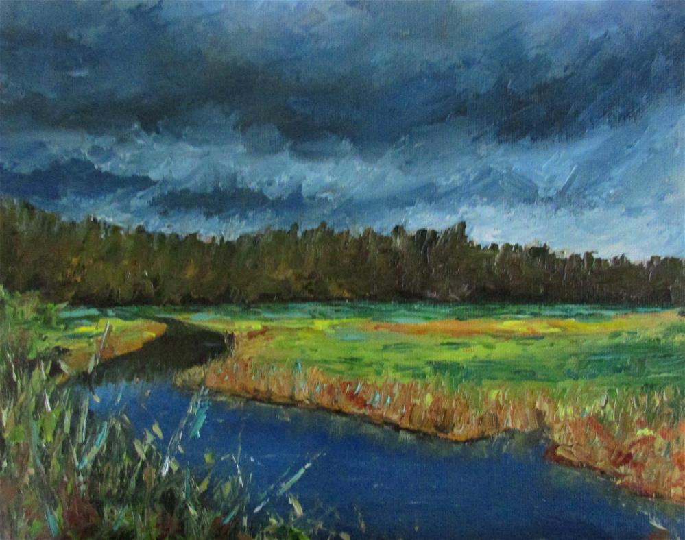 """8 x 10 inch oil Cowichan Estuary #10"" original fine art by Linda Yurgensen"