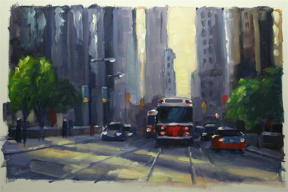 """Late Afternoon Shadows, Financial District, Toronto"" original fine art by Catherine Jeffrey"