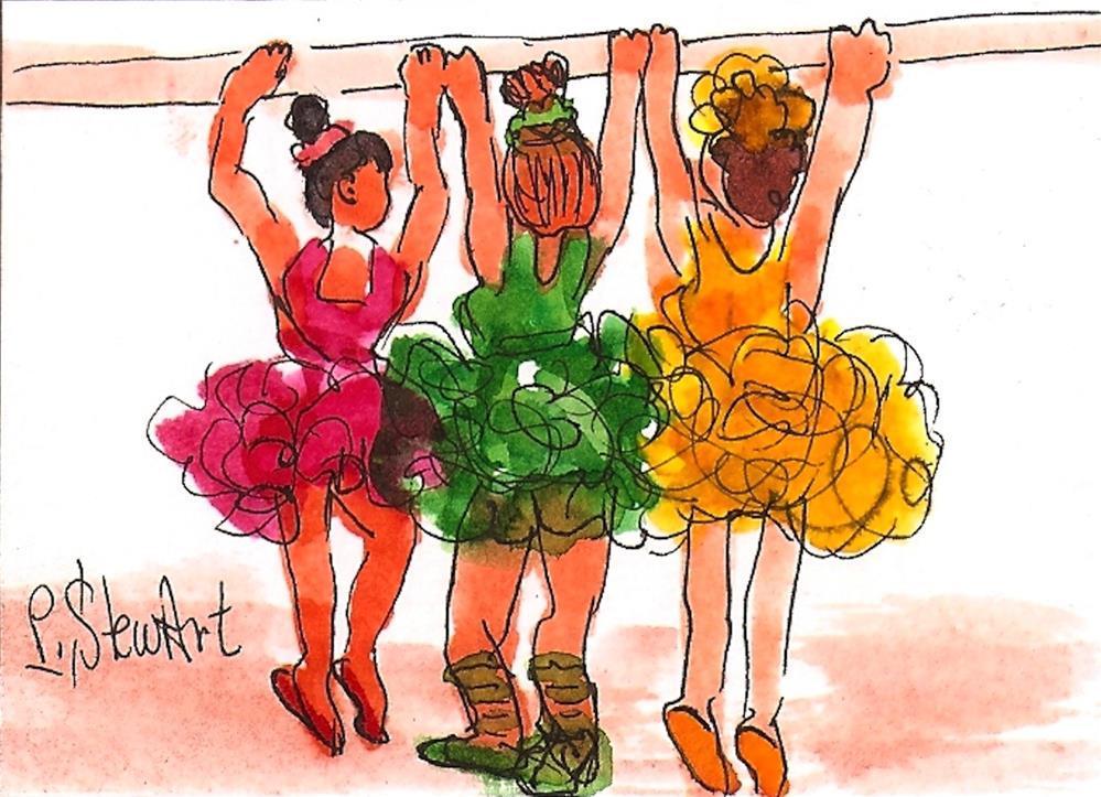 """ACEO Ballet Class 3 Ballerinas in Tutus at the bar Original Art OOAK WC & pen"" original fine art by Penny Lee StewArt"