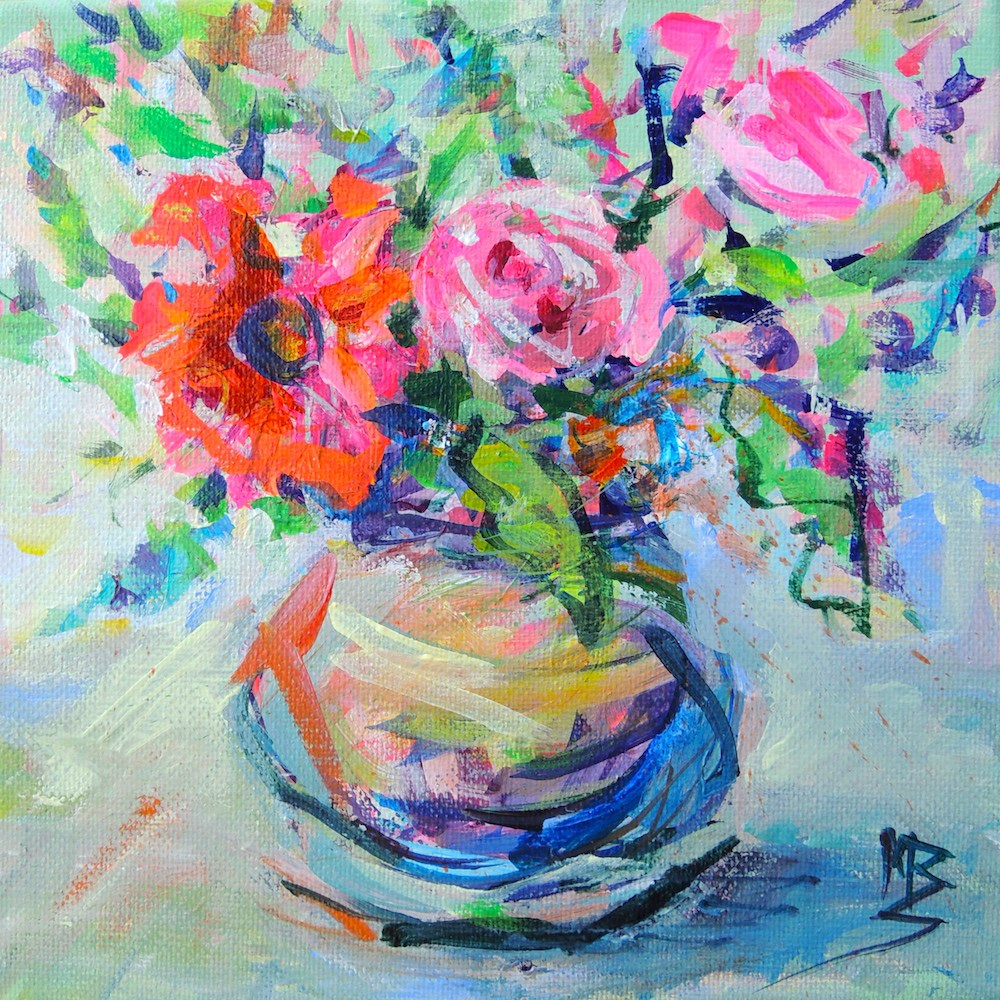 """Party Flowers"" original fine art by Mary Schiros"