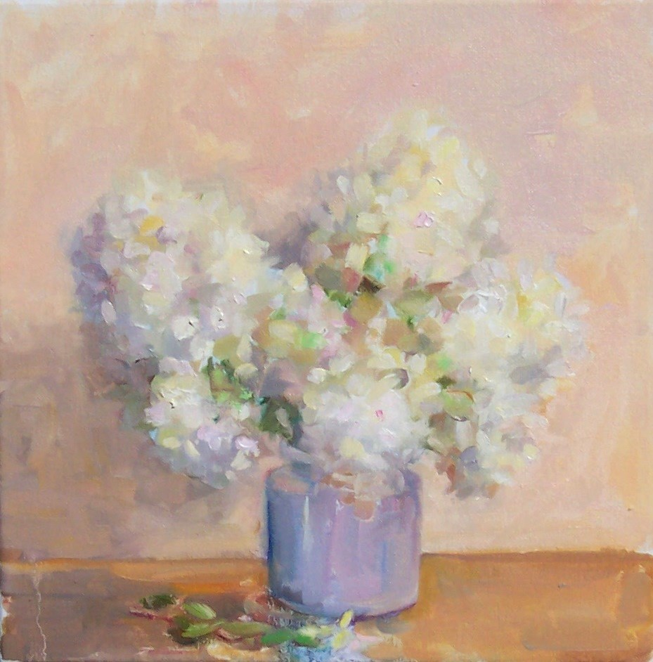 """White Hydrageas in Jug,still life,oil on canvas,12x12,price$375"" original fine art by Joy Olney"