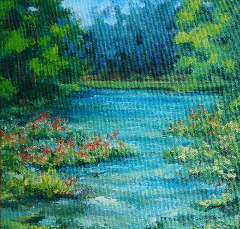 """Wildflowers Along the River"" original fine art by Maria Levandowski"