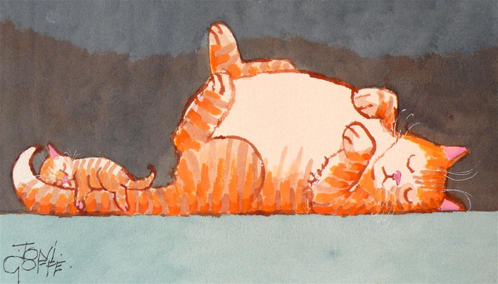 """Siesta for Two"" original fine art by Toni Goffe"