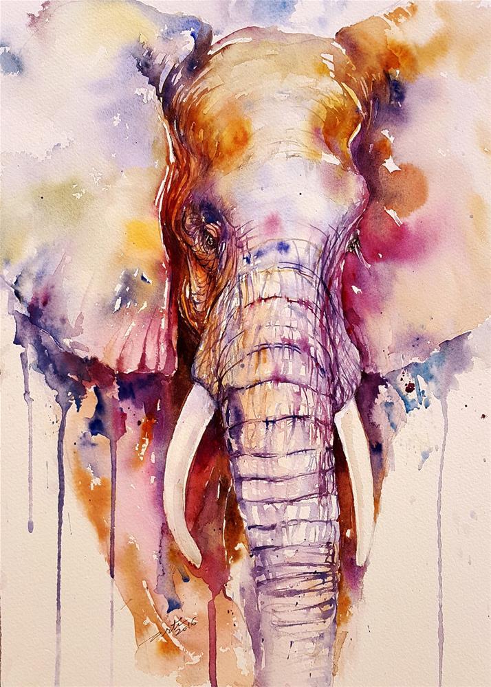 """Blush the Elephant"" original fine art by Arti Chauhan"