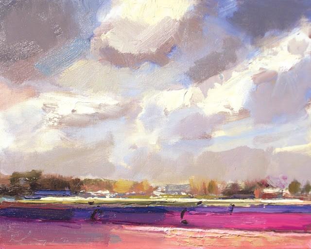 """Landscape spring #12 Light recaptured - Purple blue fields"" original fine art by Roos Schuring"