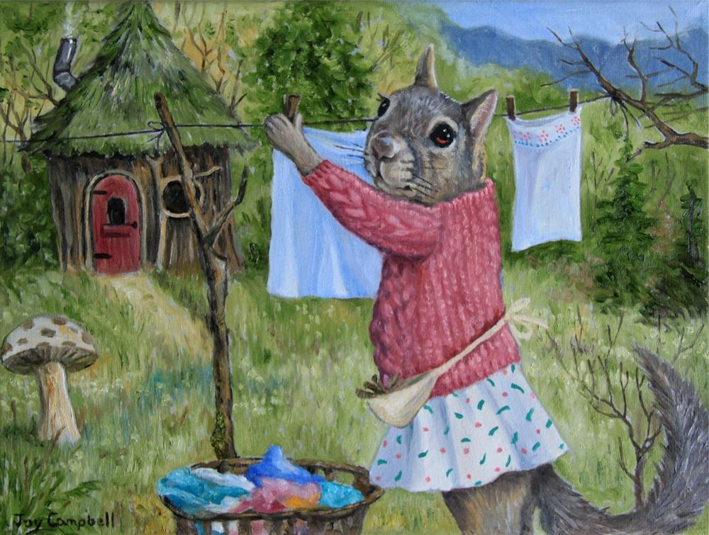 """Laundry Day"" original fine art by Joy Campbell"