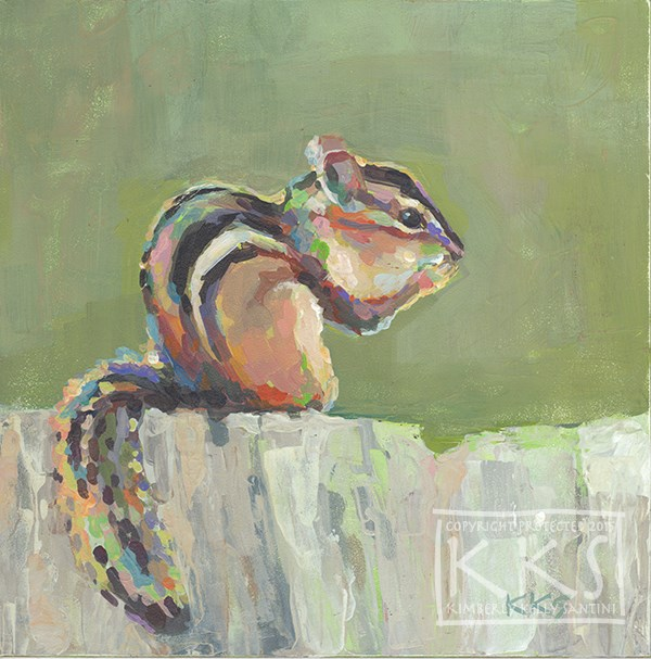 """Chippie I, A Chipmunk Painting"" original fine art by Kimberly Santini"