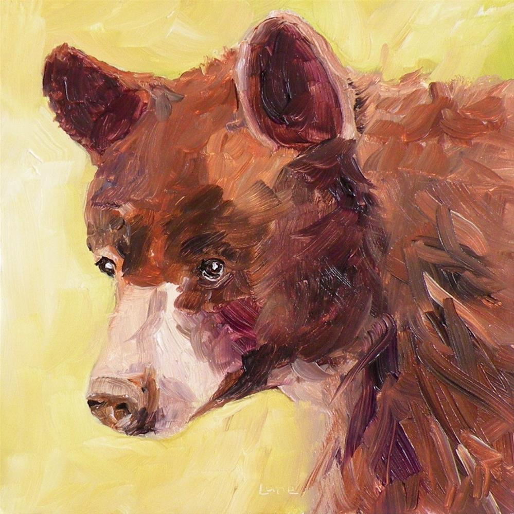 """BABY BEAR ORIGINAL 4X4 OIL ON PANEL © SAUNDRA LANE GALLOWAY"" original fine art by Saundra Lane Galloway"