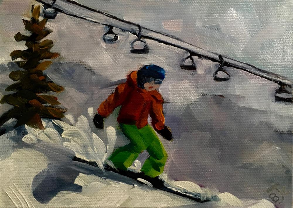 """Snow Boarding"" original fine art by Bobbie Cook"