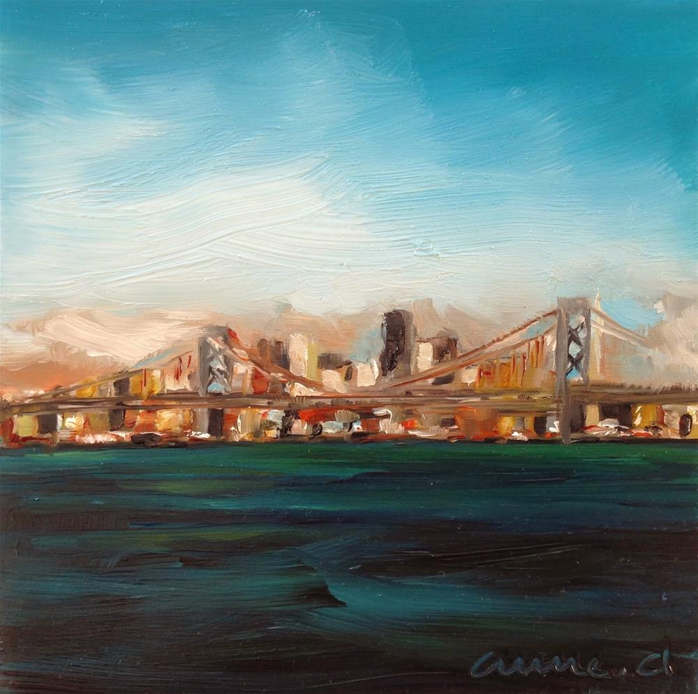 """Sailing by the San Francisco Bay Bridge"" original fine art by Anne Ducrot"