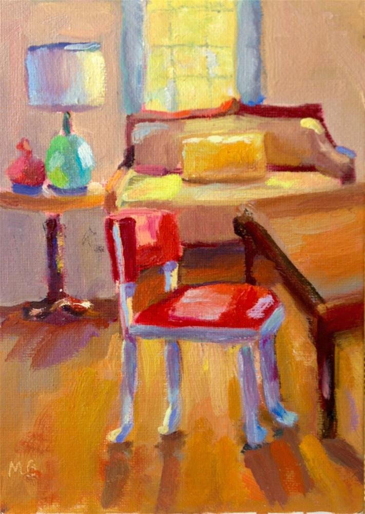 """Grandma's Davenport and Red Chair"" original fine art by Marcia Bergtholdt"