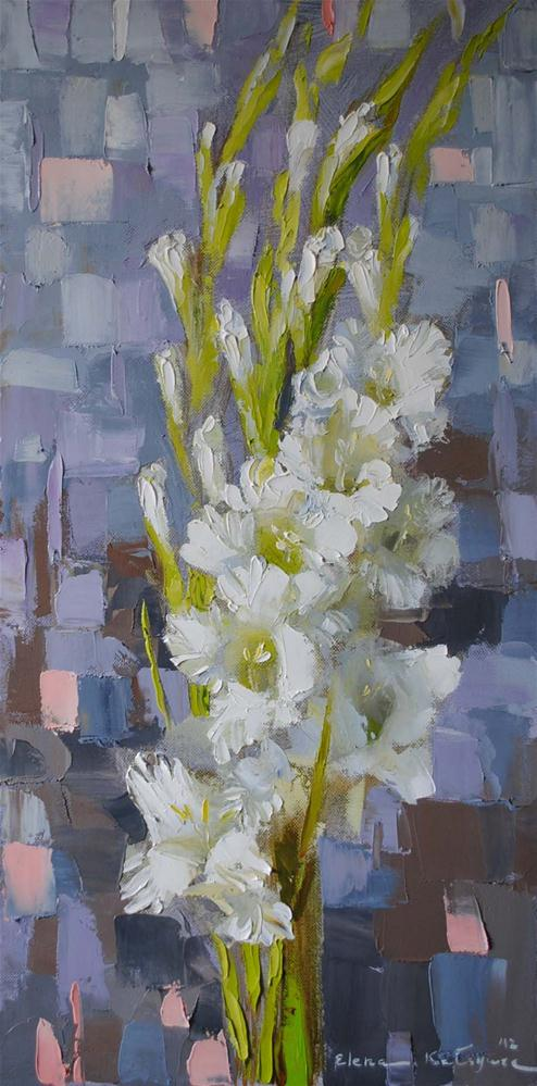 """White Gladioli"" original fine art by Elena Katsyura"