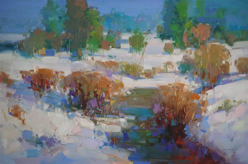 """""""Winter Time, Landscape oil painting, Handmade, large standard size, signed with Certificate of Authenticiy"""" original fine art by V Yeremyan"""