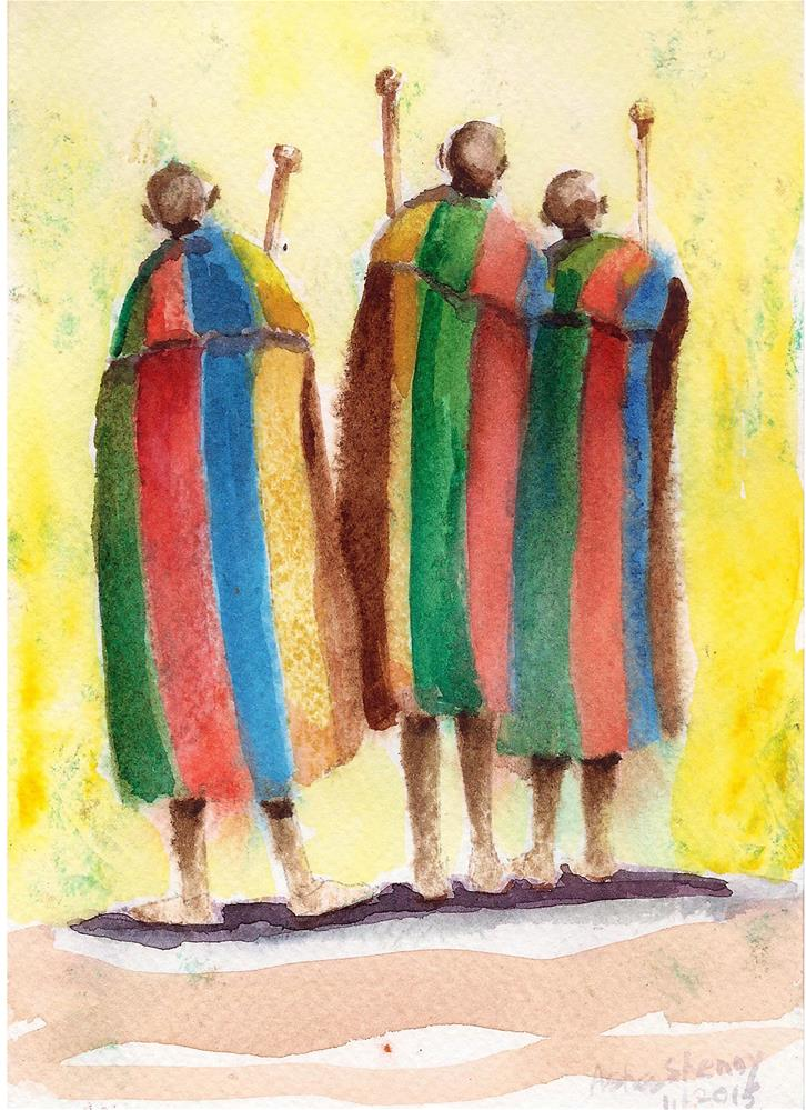 """Three friends"" original fine art by Asha Shenoy S"