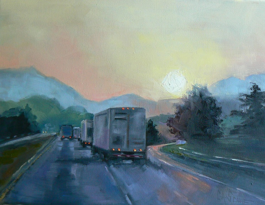"""ON THE ROAD AGAIN, 9X12, OIL"" original fine art by Carol Schiff"