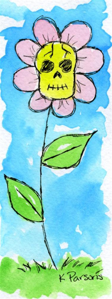 """""""Skull Flower"""" original fine art by Kali Parsons"""