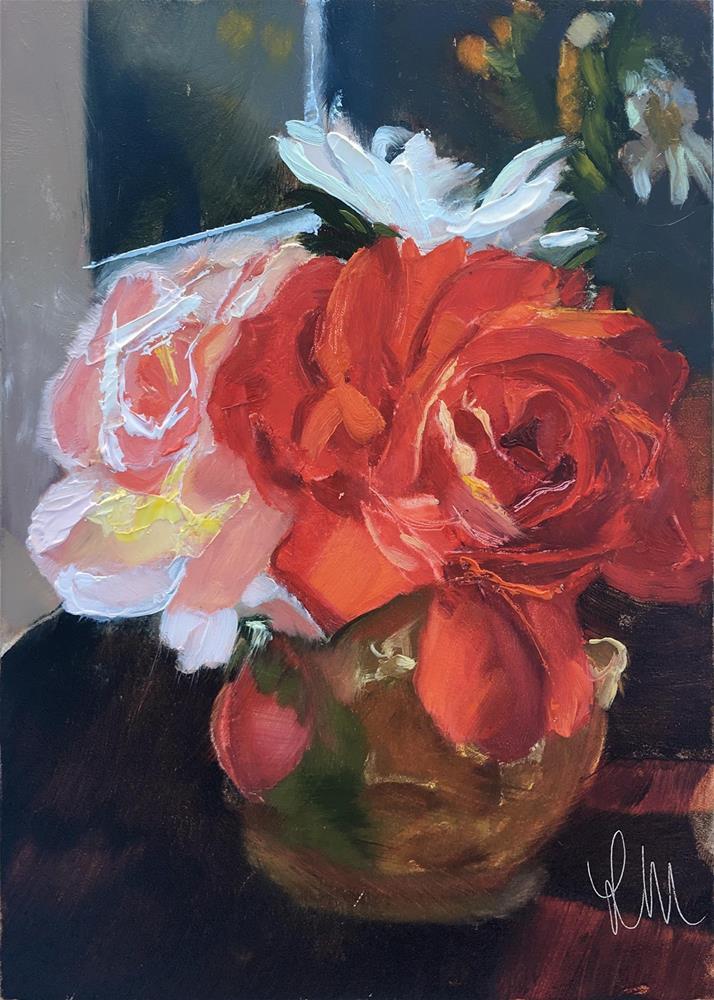 """Sunlit Posie"" original fine art by Leslie Miller"