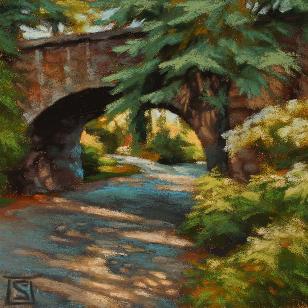 """Stone Bridge Shadows"" original fine art by Sheila Evans"