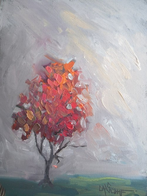 """Small Oil Painting, Tree Painting, Daily Painting, Fall Color Maple Tree, 6x8 Oil"" original fine art by Carol Schiff"