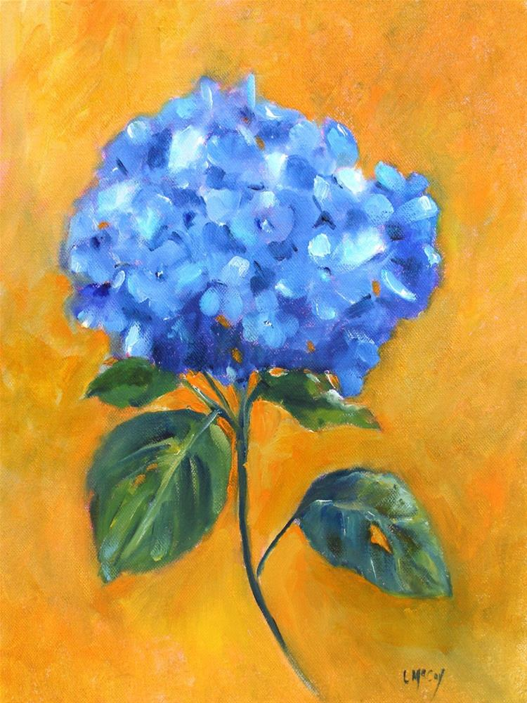 """Blue Hydrangea, Oil on canvas by Linda McCoy"" original fine art by Linda McCoy"
