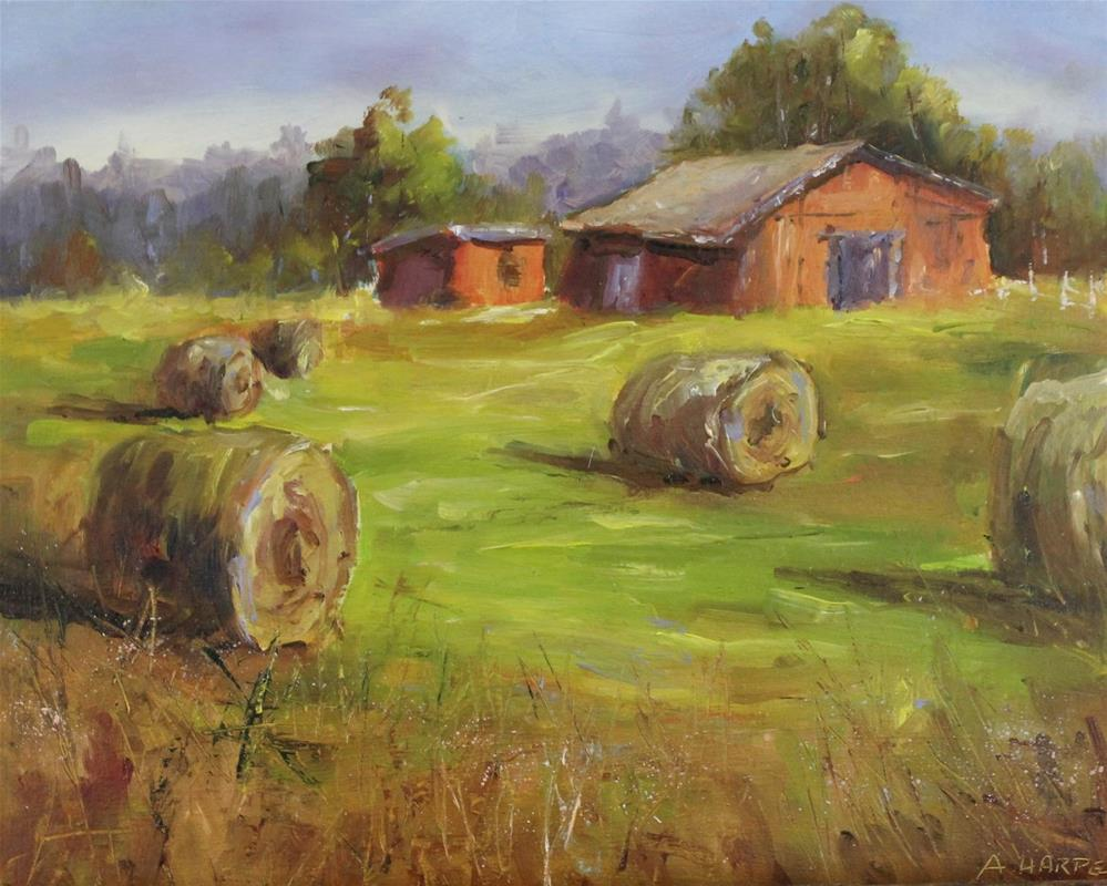 """Original oil barn landscape hay bale haystack painting. "" original fine art by Alice Harpel"