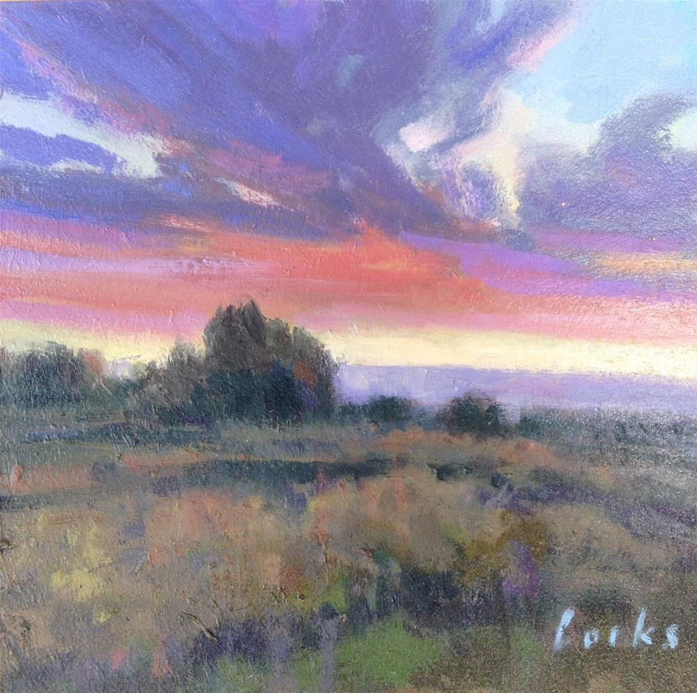 """Prairie Sundown"" original fine art by David Forks"