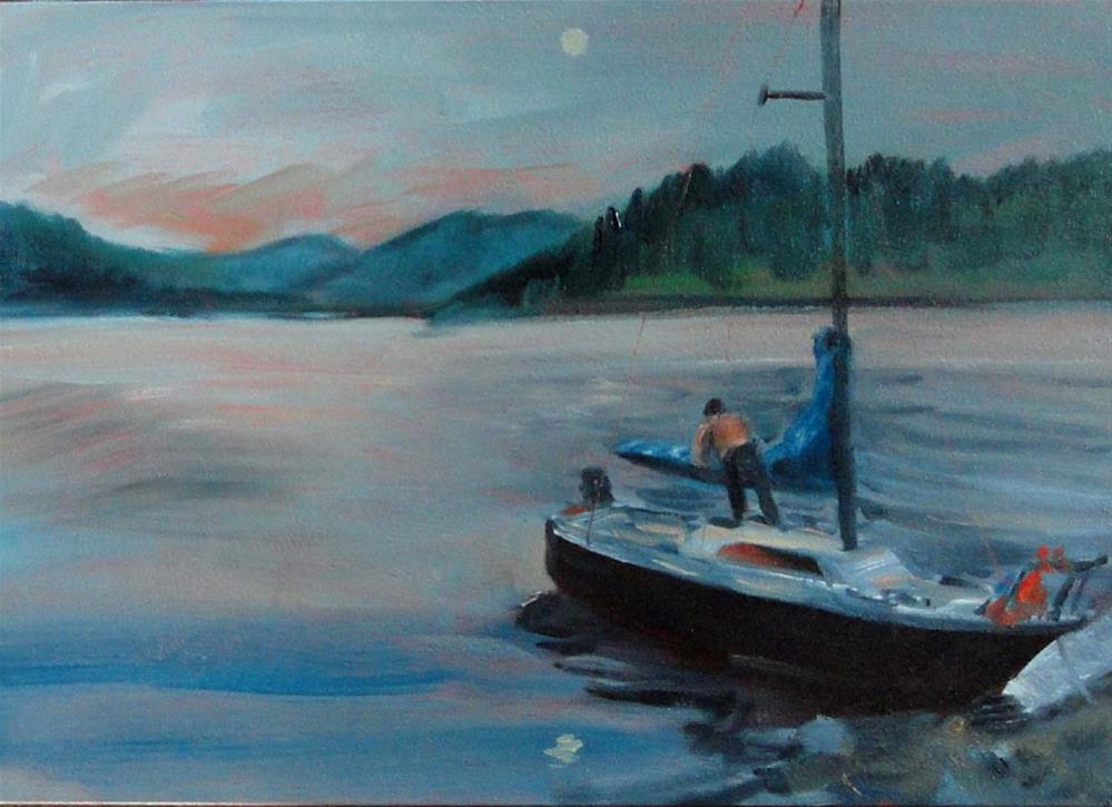 """Preparing The Moonlight Cruise"" original fine art by Cietha Wilson"