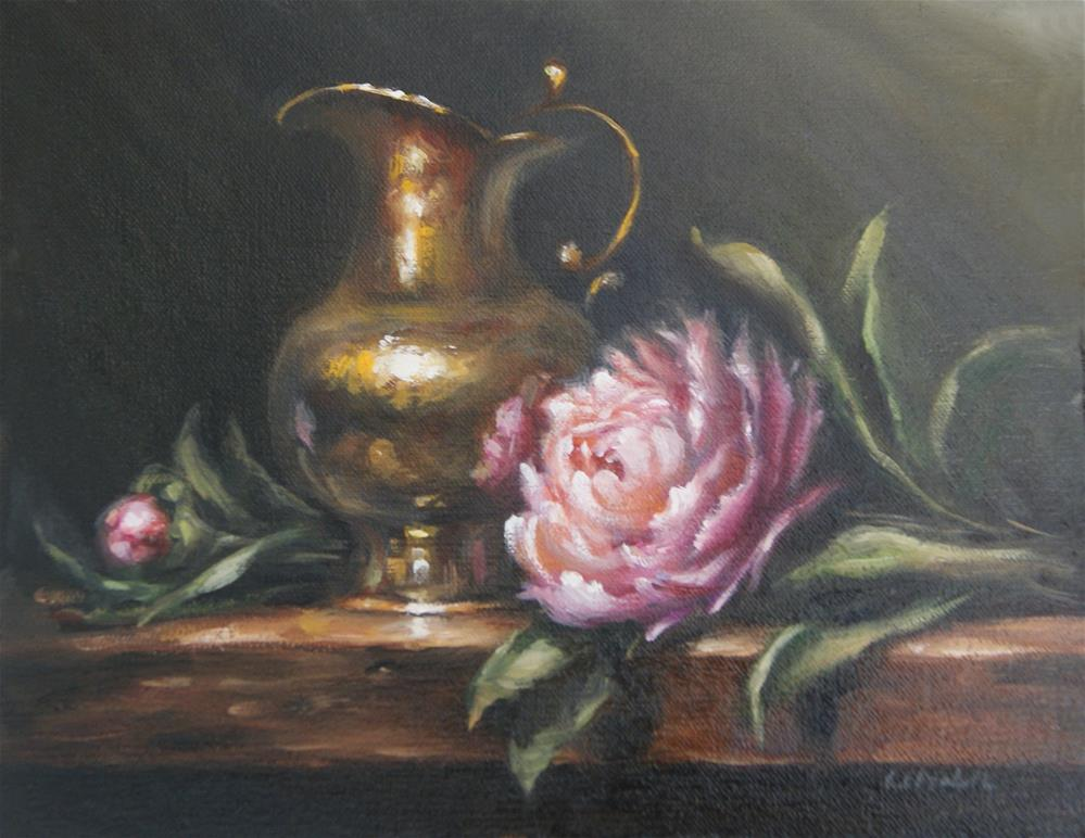 """Peonies with Brass Pitcher"" original fine art by Carolina Elizabeth"
