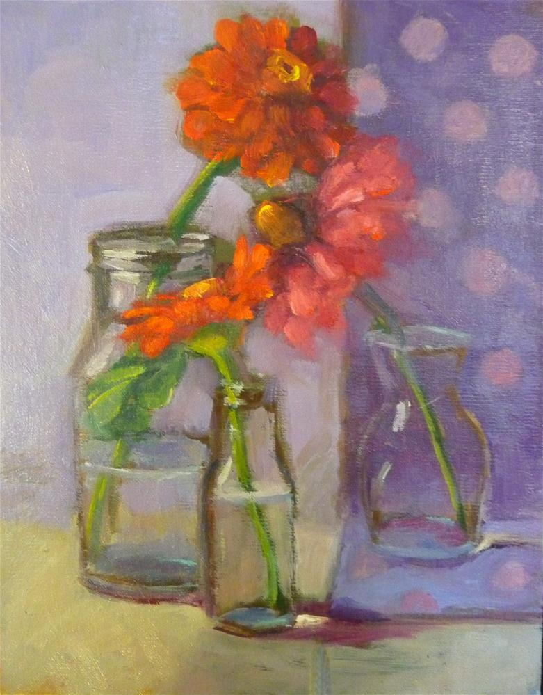 """Zinnias on purple"" original fine art by Carol Josefiak"