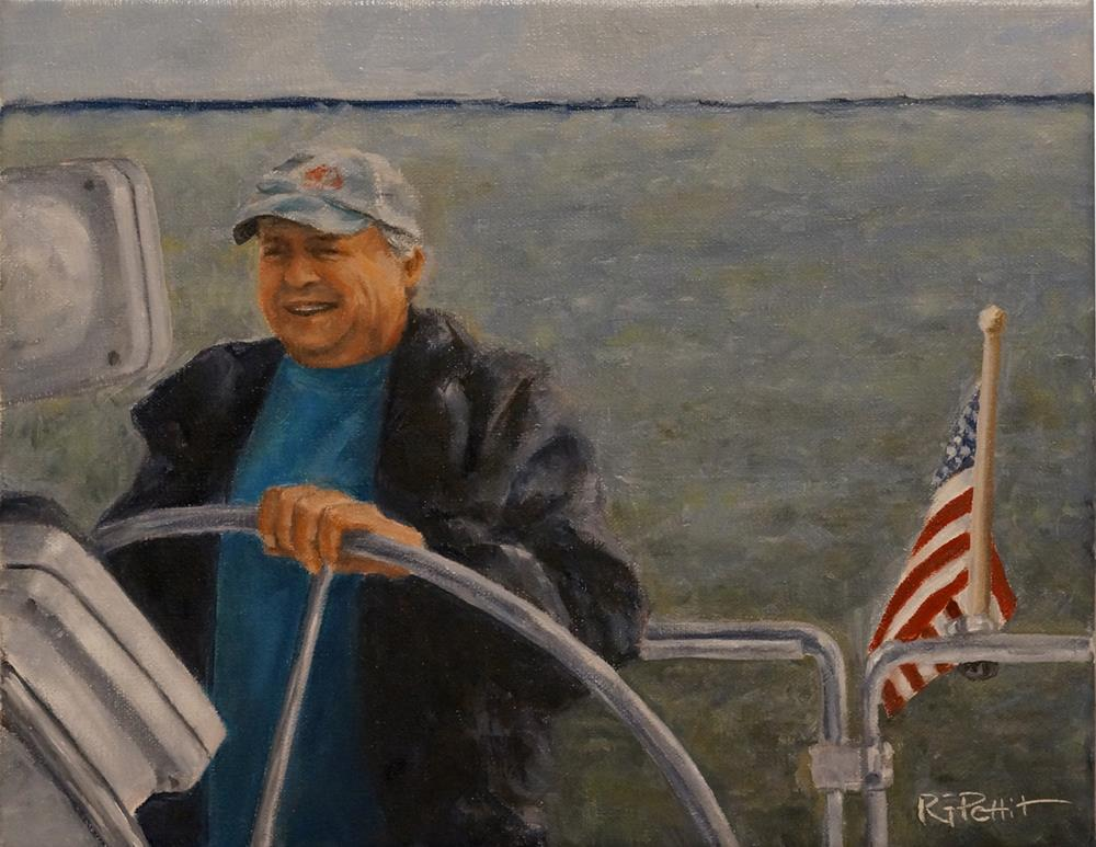 """Man on Boat"" original fine art by Rhea  Groepper Pettit"