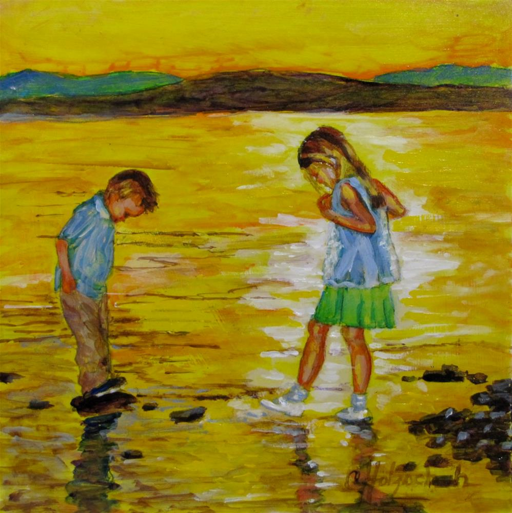 """Wading In Gold"" original fine art by Christine Holzschuh"
