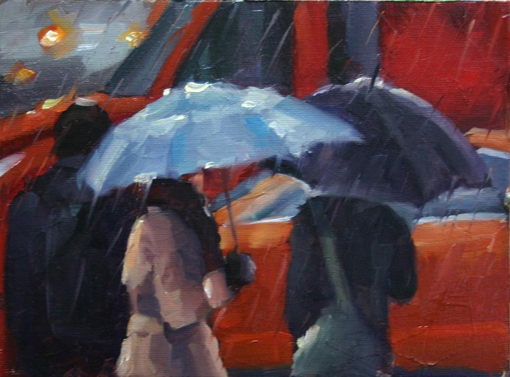 """Umbrellas and Traffic, Toronto"" original fine art by Catherine Jeffrey"