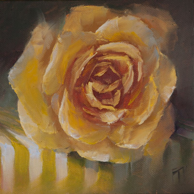 """Tablecloth Series One Yellow Rose"" original fine art by Lori Twiggs"