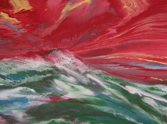 """Contemporary Abstract Seascape Painting, A Sailor's Tale Red Sky Warning 40x30x1.5 by Colorado"" original fine art by Kimberly Conrad"