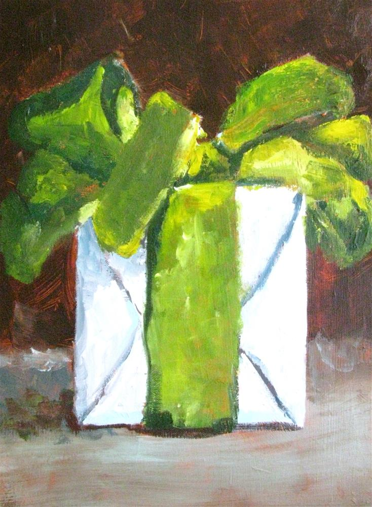 """Green Bow"" original fine art by Susan Elizabeth Jones"